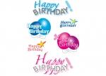 10 x Sticker Happy Birthday - 3 Blatt